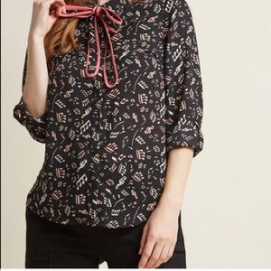ModCloth Long Sleeve Music Notes Blouse NWT